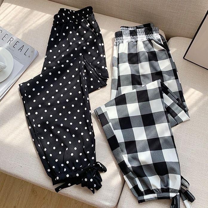 Summer Korean-style Plaid Harem Pants WOMEN'S Pants Polka Dot Casual Lantern Skinny Pants Loose-Fit Capri Loose Pants Sub-Fashio