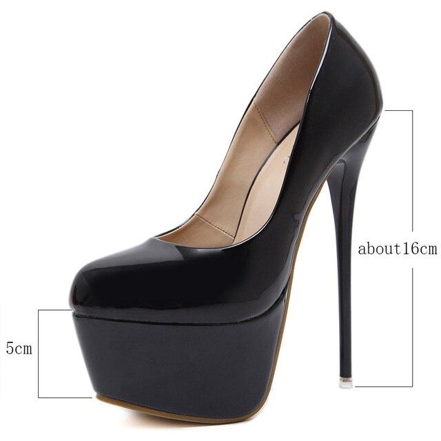 Platform Heels Wedding Shoes Woman Sexy Thin High Heels 16cm Pumps Women Patent Leather Ladies Shoes Plus Size Drop Shipping