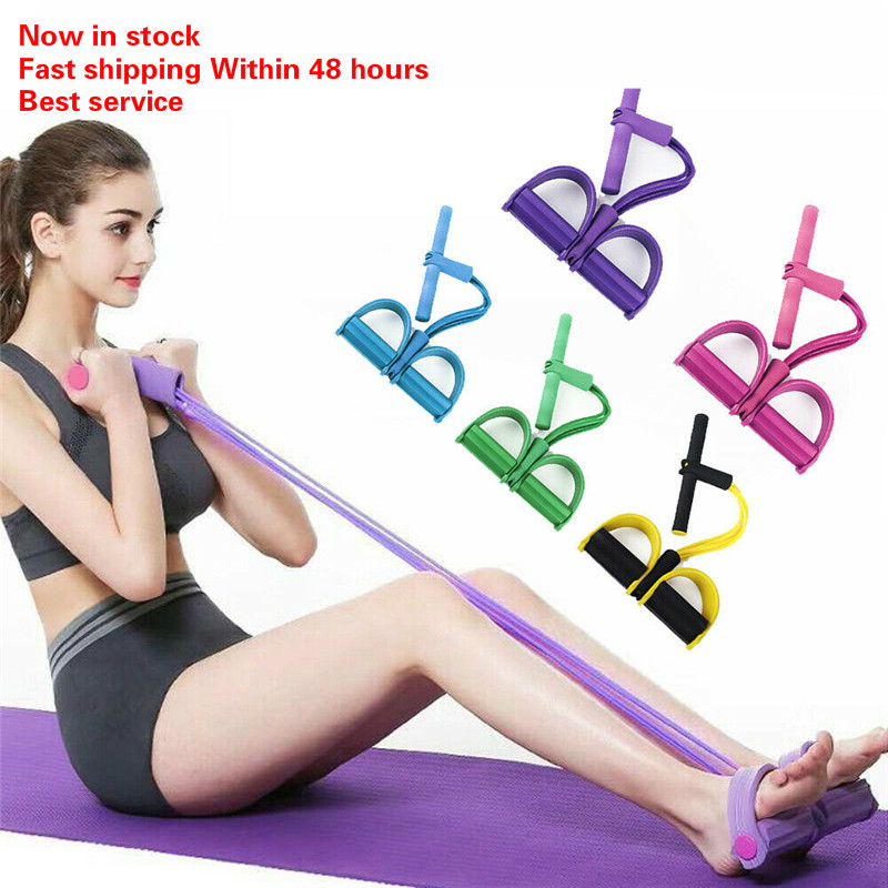 Home Fitness Equipment 4-Tube Elastic Pull Rope With Foot Pedal Sit Up Pull Rope Yoga Leg Exerciser