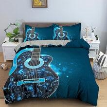 Комплект постельного белья с изображением гитарных нот роскошный
