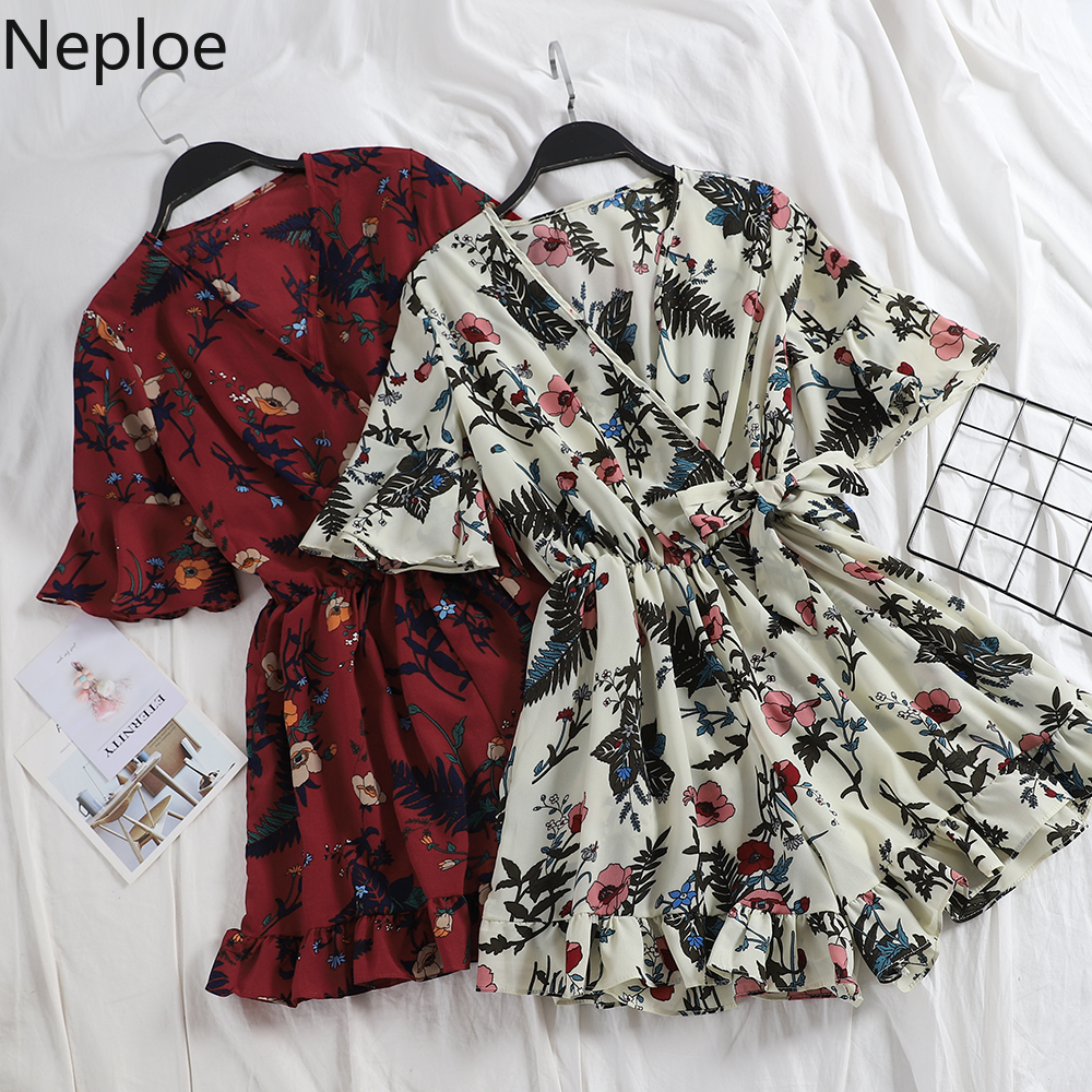 Neploe V Neck Flare Short Sleeve Print Wide Leg Jumpsuit Holiday Beach Multicolor Ruffles Bodysuit High Waist Hip Playsuit 81268