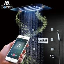 Bluetooth Music LED Light Showerhead 580*380mm Waterfall Shower Bathroom Shower Faucet Mixer Rainfall Ceiling Shower Set 304SUS цены