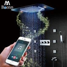 цены Bluetooth Music LED Light Showerhead 580*380mm Waterfall Shower Bathroom Shower Faucet Mixer Rainfall Ceiling Shower Set 304SUS
