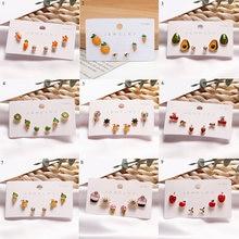 Фруктов ухо шпильки милые серьги ювелирные наборы для женщин