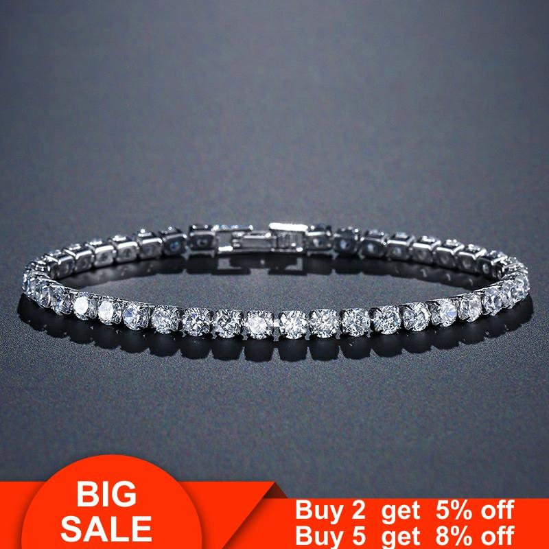 Handmade solid 925 sterling silver 4mm CZ tennis bracelet bangle for women wedding fashion jewelry wholesale party gift