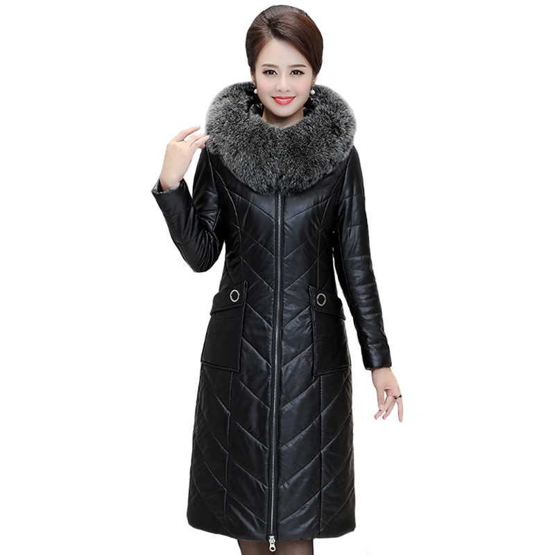 Real Fox Fur Collar Women Long Leather Down Jacket Plus Size 7XL Slim Leather Overcoat Hooded Women Winter Coat Ladies Parka image
