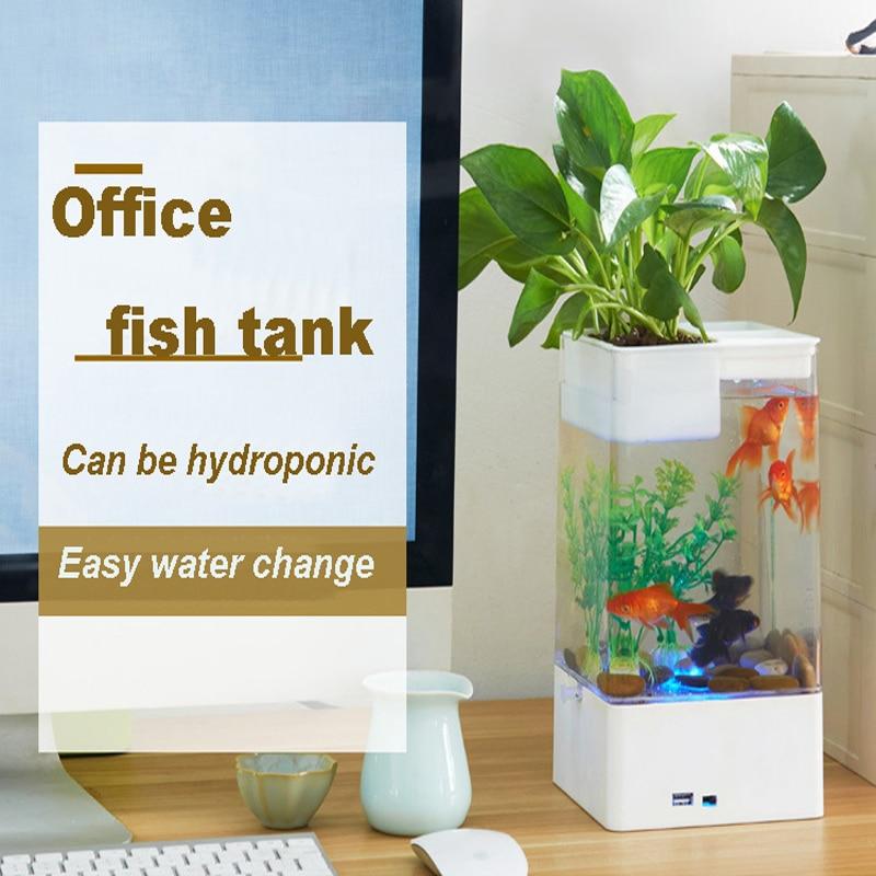 Lazy mini acrylic fish tank desk transparent aquarium creative self-cleaning ecological fish tank