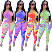 Zoctuo Tie Dye Print Sexy Jumpsuits for Women Hollow Out Club Playsuit 2020 Fashion One