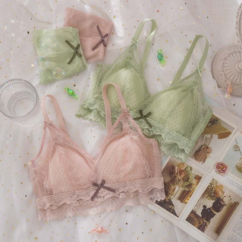 Roseheart New Women Fashion Lace Bow Bra Sets Bralette Cotton Panties Padded Wireless Underwear Sexy Lingerie Sets Cup A B