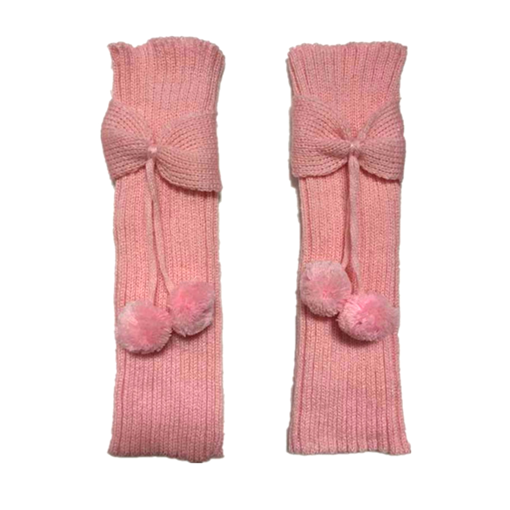Girls Women Winter Knitted Warm Bowknot Leg Warmer with Pom-Pom Footless Long Casual Socks
