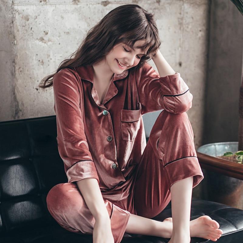 Autumn Winter Women Golden Velvet Pajamas Sets Warm Long Sleeves Pijama Homewear Thick Sleepwear Plus Size 4XL Pyjama 51