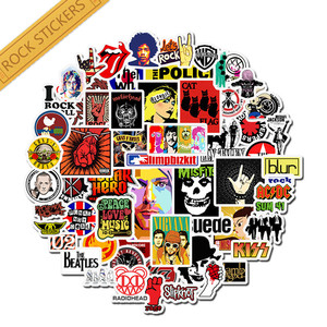 52pcs pack Retro rock band music Stickers Grean Day laptop Luggage For guitar suitcase skateboard DIY waterproof Stickers(China)