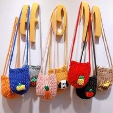 8 цветов, Детская сумка для девочек, милый дизайн с фруктами из мультфильмов, вязаная сумка через плечо, детские сумки через плечо, сумка-мессенджер