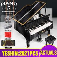 Yeshin moc-13192 idéias criativas brinquedos o controle do aplicativo jogável piano grande conjunto crianças brinquedos lepining blocos de construção presente de natal
