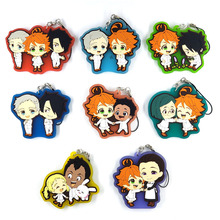 8pcs/lot The Promised Neverland Original Japanese anime figure rubber mobile phone charms keychain strap D452