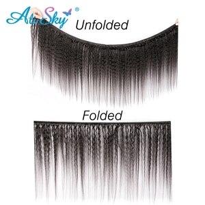 Image 3 - AliSky Hair 인디언 킨키 스트레이트 4 묶음 레이스 클로저 레미 헤어 익스텐션 휴먼 헤어 위브 번들 클로저 실키