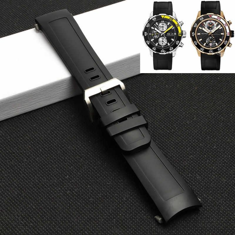 22mm yüksek kaliteli floro kauçuk silikon saat kayışı için IWC Aquatimer aile IW3768/3290/3568/3767 su geçirmez siyah saat kayışı