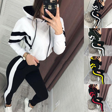 цены Spring Autumn Women 2 Pieces Sets Stripe Spliced Sweatshirt Ankle Length Harm Pants Oversize Tracksuits Hoodies Outfiits Winter