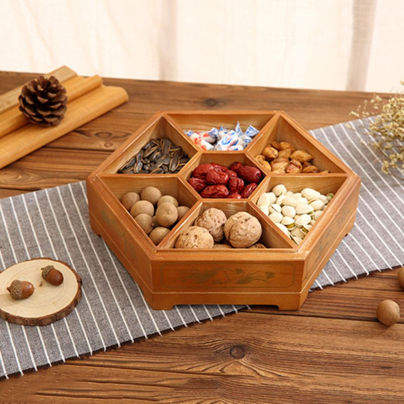 Wooden Candy Box With Lid Snacks Holder Storage Dispenser Nut Dried Fruit Server Display Plate Tray For Home Party Wedding Decor