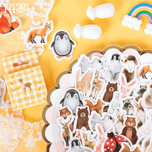 Mohamm 45 PCS Boxed Stickers Animal Farm stickers Cute Penguin Decoration Sticker Flakes Scrapbooking Gift Girl School Supplies