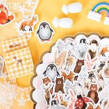 Mohamm-Stickers en animaux de ferme, stickers en boîte de 45 pièces, Stickers de décoration en pingouin mignon, flocons pour Scrapbooking, cadeau, fournitures scolaires de filles