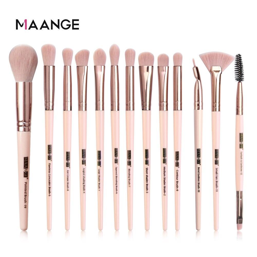 MAANGE, nuevo juego de 3/5/13 piezas/lote de brochas de maquillaje para base en polvo, rubor, sombra de ojos, corrector labial, brocha de maquillaje de ojos, herramientas de belleza|rizador de pestañas|   - AliExpress