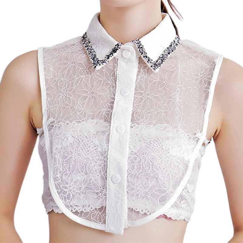 THINKTHENDO крючком кружева половина рубашка лацкане поддельные воротник вышивка цветочные ожерелье чокер