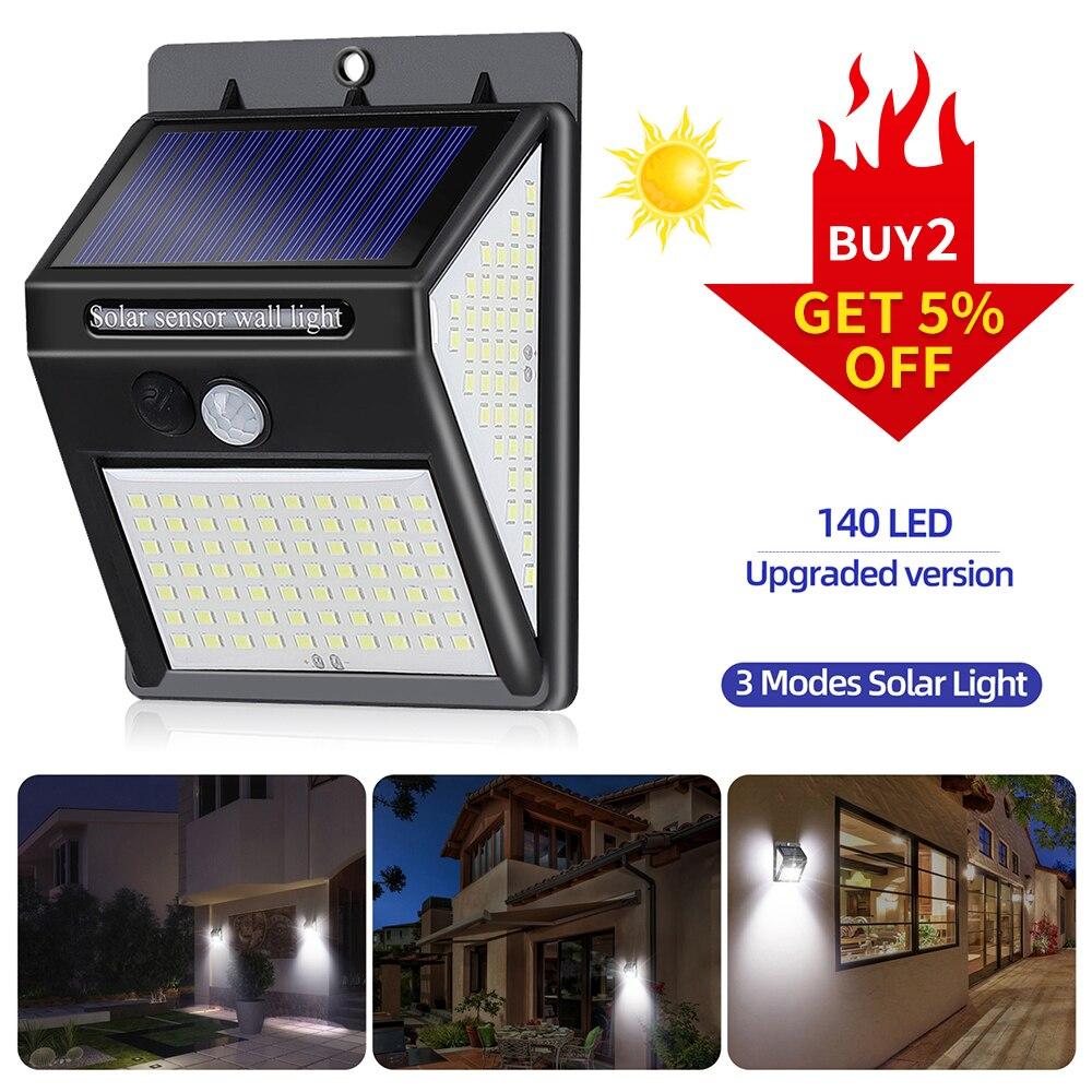 Outdoor Solar Light Wall Lamp 140 LED Waterproof PIR Motion Sensor Garden Light Solar Powered Spotlight Sunlight Street Light