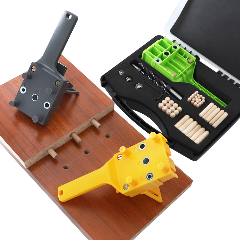 Dowel Jig ABS Plastic Pocket Hole Handheld Drill Guide Jig With 6 8 10mm Drill Bit Set Wood Doweling Pocket Hole Jig System