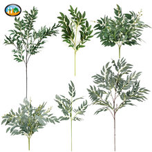 5 branches artificial willow bouquet silk fake leaves green faux foliage home wedding decoration plant jungle party arrangment