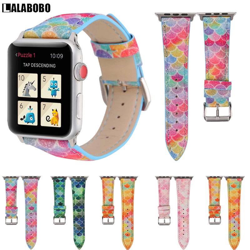 New Mermaid leather Band for Apple Watch 38mm 40mm 42mm 44mm Strap Bracelet for iWatch Series 5 4 3 2 1 Watchband Accessories