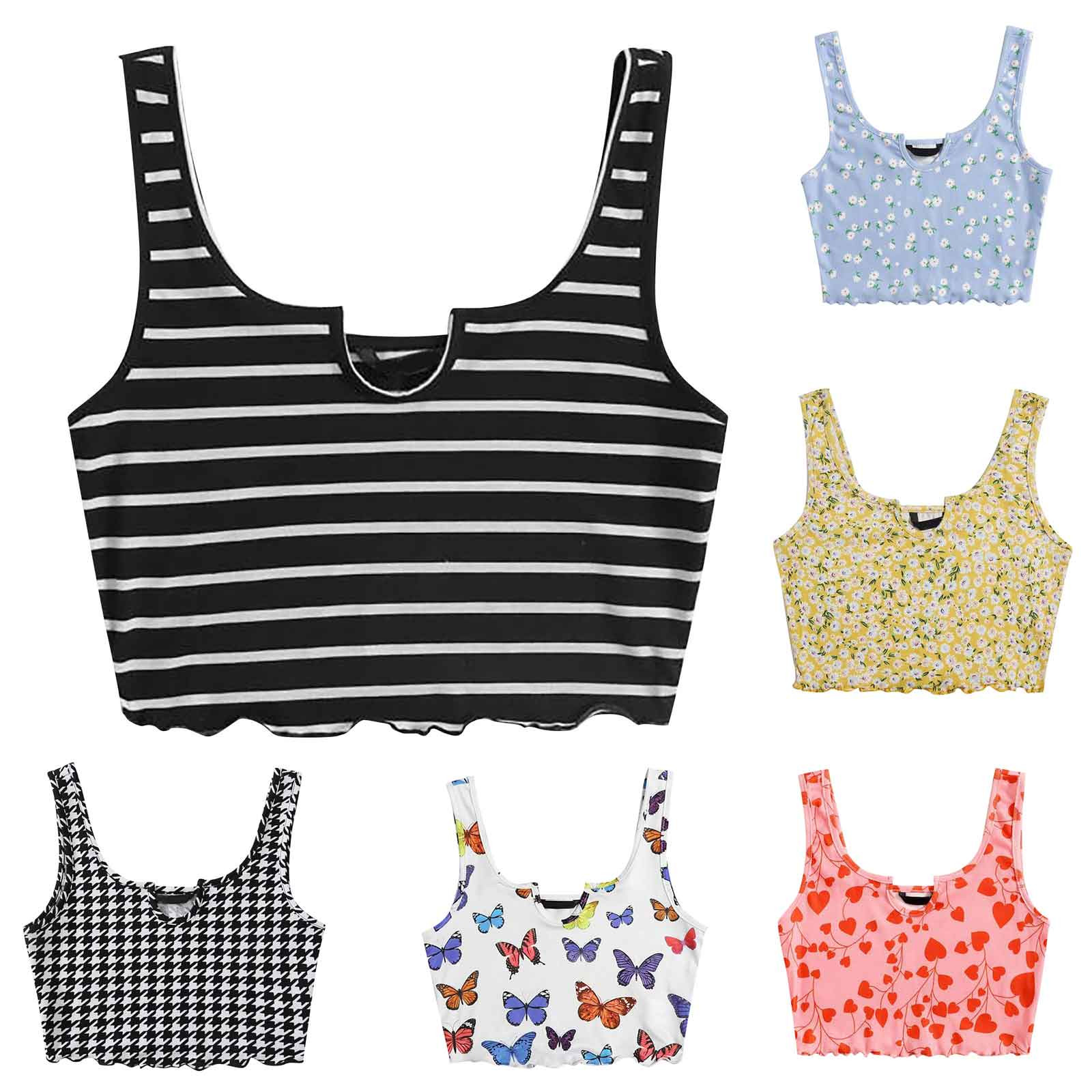 Tank-Vest Camis Crop-Tops Knitted-Tunic Flower Ribbed Basic Print Striped Sleeveless Sexy