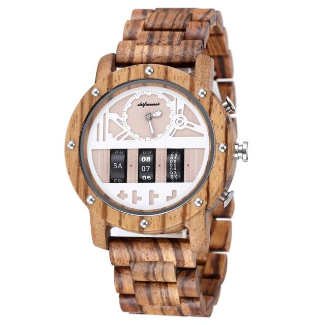Mens Watch Shifenmei Brand Wood Watches Roll Army Digital Clock Chronograph Luxury New Desgins Wooden WristWatch Reloj Hombre