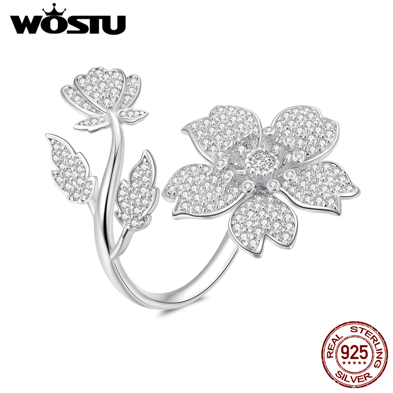 WOSTU 100% 925 Sterling Silver Sakura Blooms Flower Rings Adjustable Delicate Wedding Ring Clear Zircon Fashion Jewelry DAR076