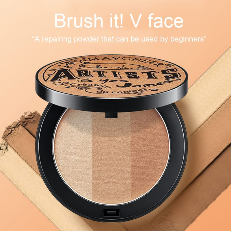 <font><b>3</b></font> Color Face Highlighter Palette Repair Capacity Palette Makeup Facial Contour Powder Bronze Palette Cosmetics Beauty image
