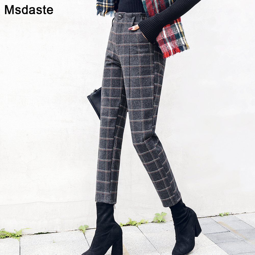 Harem Pants Women 2019 Autumn Winter Vintage Plaid Gray High Waist Female Trousers S~3XL Casual Ankle-length Woman Woolen Pants