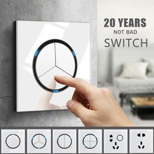 цена на 86 Type For Home Switch 220V Single Open Double Control Light Switch Glass Panel 5 Hole Socket LED Light Wall Switch Interruptor