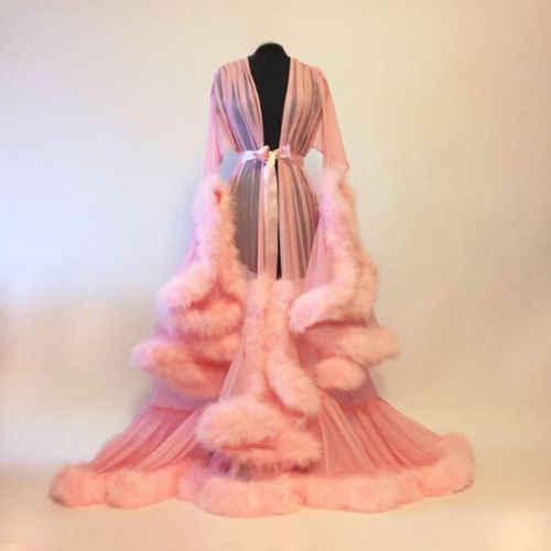 אופנה שמלת רשת פרווה ללבוש לישון לילה שמלת Nightgrown גלימות סקסי נשים הלבשה תחתונה הלבשת תחרה חלוק בגדי בית Nightwear