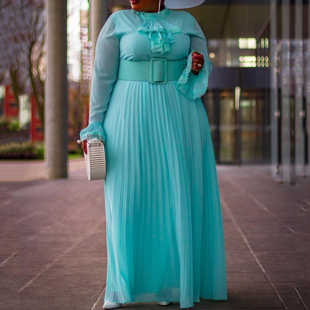 Dinner Party Maxi Dress 2019 African Vintage Female Pleated Dress Flare Sleeve Sexy Plus Size Long Dress Vestiods Robe NO BELT