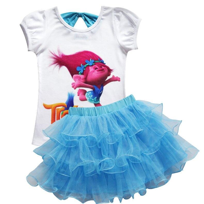 Toddler Girls Summer Casual Poppy Skirt Cartoon Troll's Vampire Vestidos Wig Legging Baby Girls Clothes Dress For Kids Costume 2