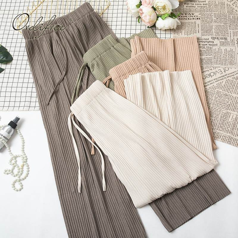 Ordifree 2019 Autumn Women Wide Leg Pants Elastic High Waist Female Casual Loose Trousers Drawstring Plain Palazzo Pants