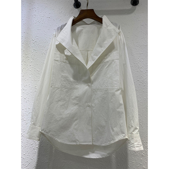 Women Long Sleeve Shirt Pockets Single Breasted Solid Color 2020 New Female Blouse 3