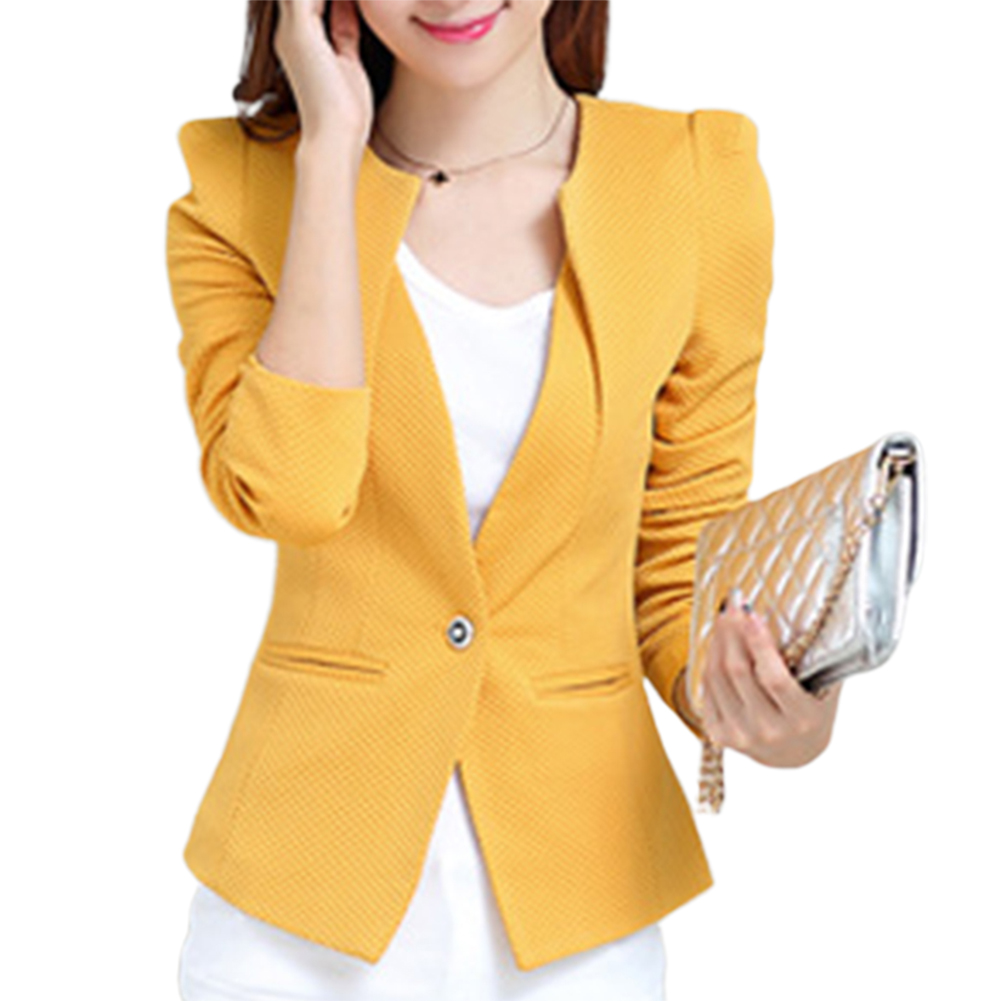HOT SALE!!! Office Lady Solid Color Long Sleeve One Button Padded Shoulder Slim Blazer Coat Slim Fit Blazer Women Fashion Blazer