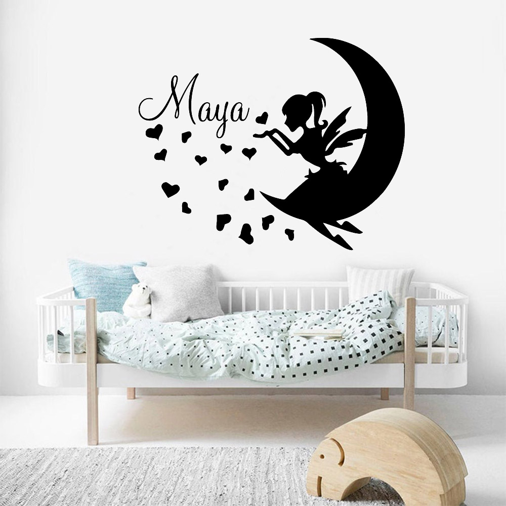 Fairy wall decal-Name Wall Decal-Baby Nursery Wall Decal-Girl Name For Nursery Vinyl Decal-Disney vinyl decal-Gold moon decal-Star stickers