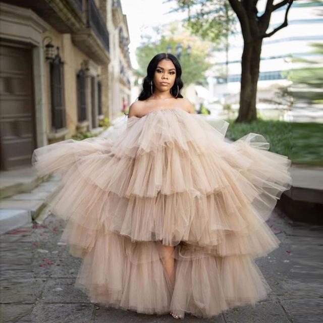Hot Sale Ruffled Tulle Dress Women Puffy Hi Low Party Night Dresses Tiered Sleeveless Long Tutu Skirt Chic Photo Shoot Dress 2