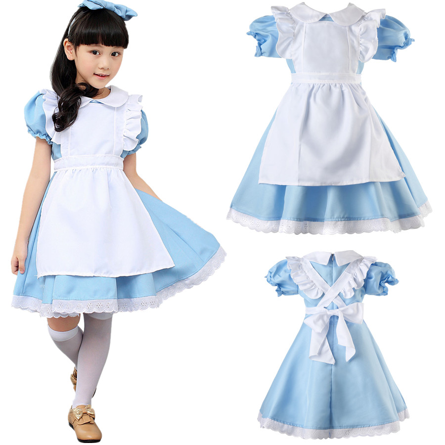 Child Girls Alice Fancy Dress Costume Kids Book Week Day Fairytale Wonderland