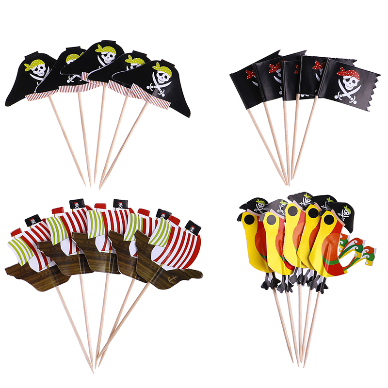 20pcs Food-Grade Pirate Theme Cake Picks Ornamnets Unique Design Cake Insert Card For Party Birthday Party Decoration