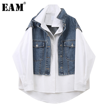 [EAM] Women White Irregular Denim  Big Size Blouse New Lapel Long Sleeve Loose Fit Shirt Fashion Tide Spring Summer 2020 1X255