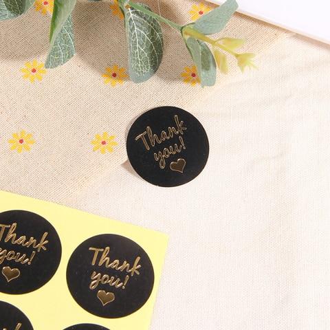 1200 pcs lote kawaii preto ouro redondo obrigado voce ama bolo artesanal embalagem etiqueta de