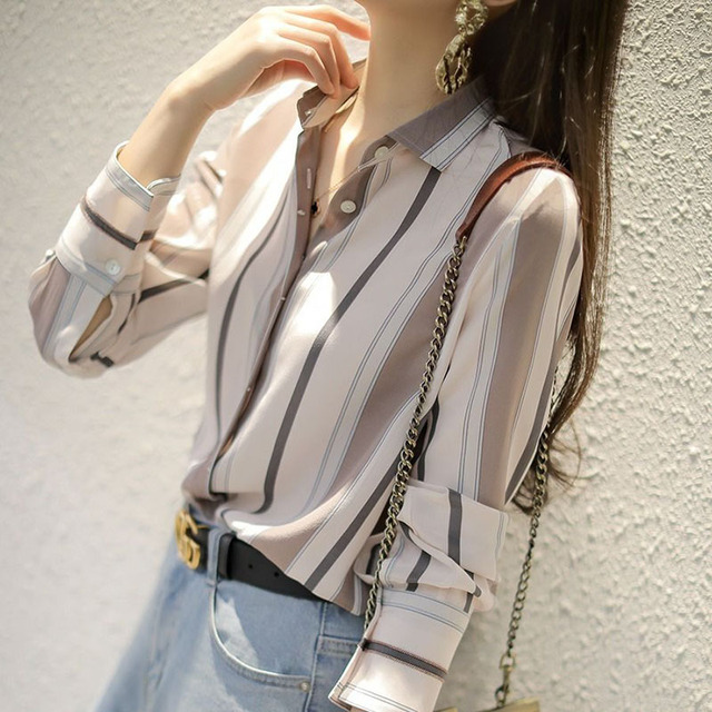 Spring Autumn Style Women Chiffon Blouses Shirts Lady Office Work Wear Stand Collar Striped Printed Blusas Tops DD8953 5